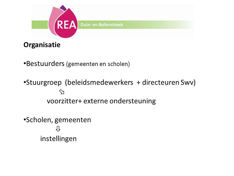 Organisatie Bestuurders (gemeenten en scholen) Stuurgroep (beleidsmedewerkers + directeuren Swv)  voorzitter+ externe ondersteuning Scholen, gemeente