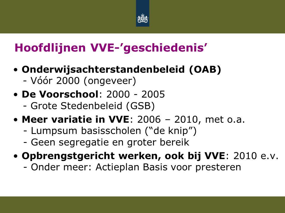 Hoofdlijnen VVE-'geschiedenis' Onderwijsachterstandenbeleid (OAB) - Vóór 2000 (ongeveer) De Voorschool: 2000 - 2005 - Grote Stedenbeleid (GSB) Meer variatie in VVE: 2006 – 2010, met o.a.
