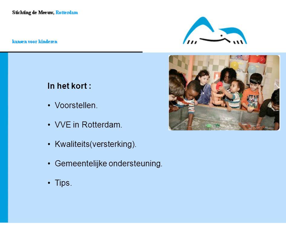 In het kort : Voorstellen. Voorstellen. VVE in Rotterdam. Kwaliteits(versterking). Gemeentelijke ondersteuning. Tips.