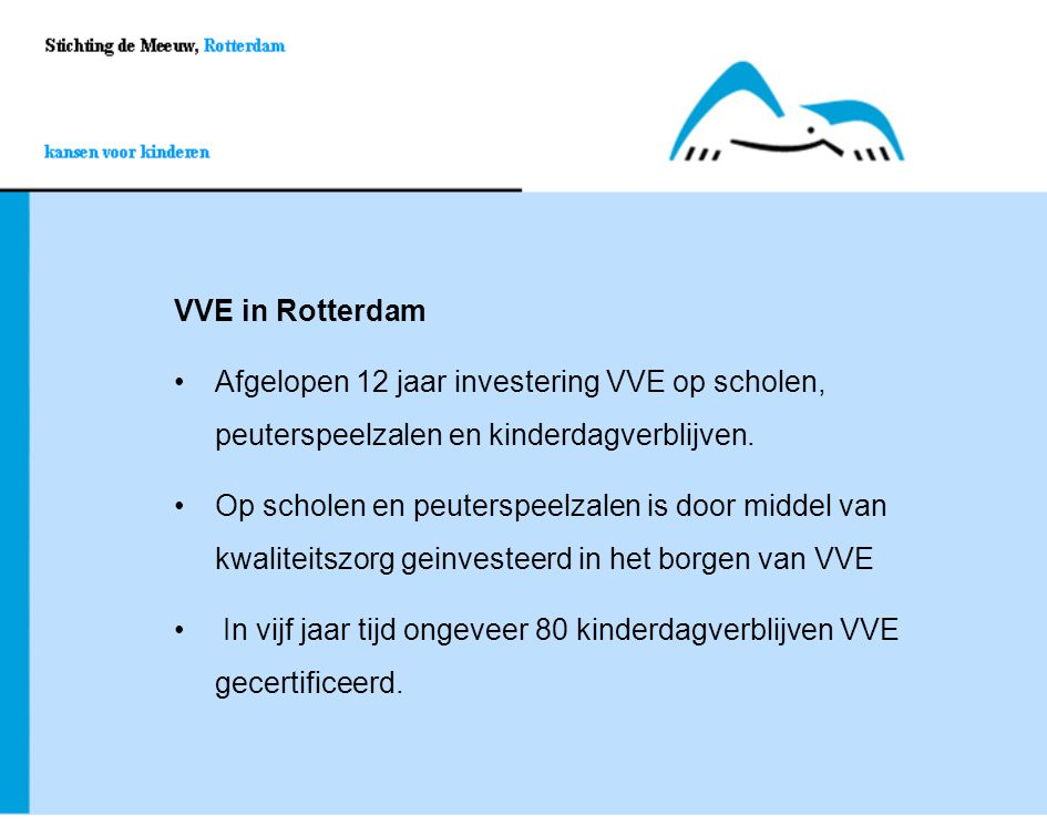 VVE in Rotterdam Afgelopen 12 jaar investering VVE op scholen, peuterspeelzalen en kinderdagverblijven.Afgelopen 12 jaar investering VVE op scholen, p