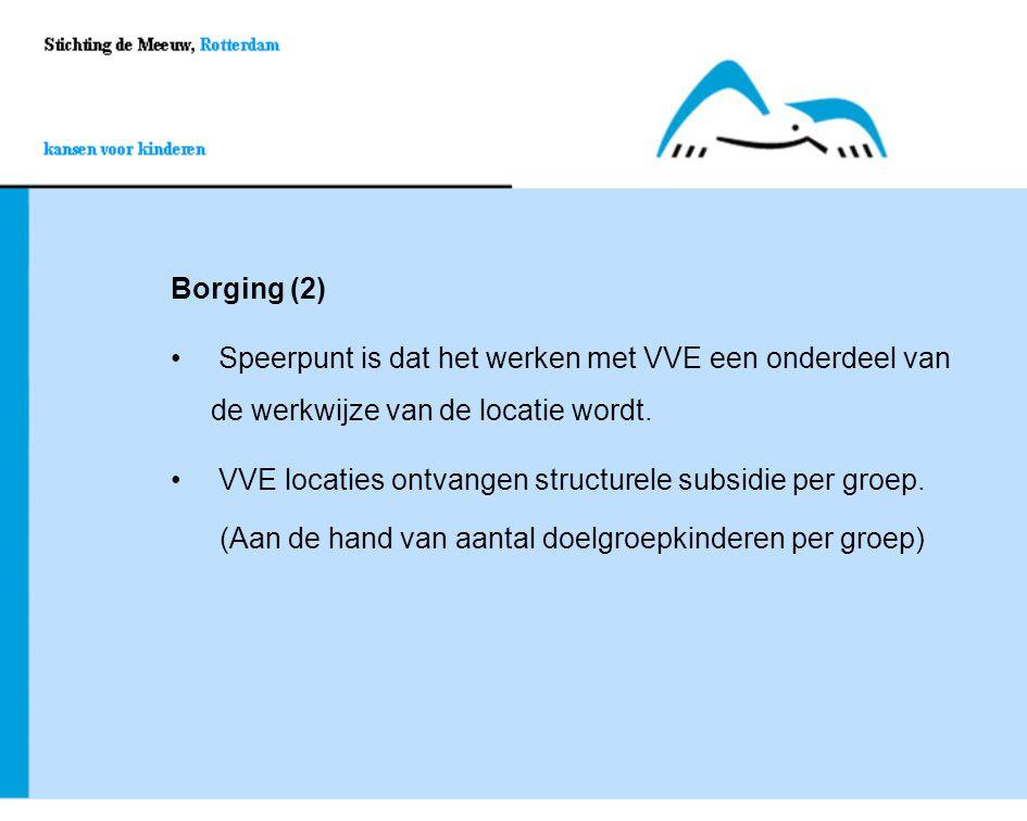 Borging (2) Speerpunt is dat het werken met VVE een onderdeel van de werkwijze van de locatie wordt. Speerpunt is dat het werken met VVE een onderdeel