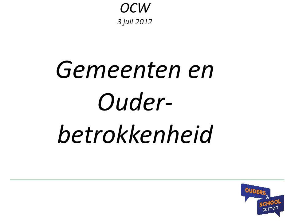 Terminologie Wat wordt bedoeld met ouderbetrokkenheid.