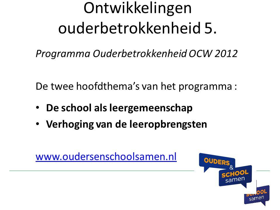 Ontwikkelingen ouderbetrokkenheid 5. Programma Ouderbetrokkenheid OCW 2012 De twee hoofdthema's van het programma : De school als leergemeenschap Verh