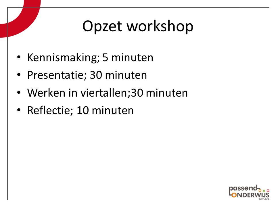Opzet workshop Kennismaking; 5 minuten Presentatie; 30 minuten Werken in viertallen;30 minuten Reflectie; 10 minuten
