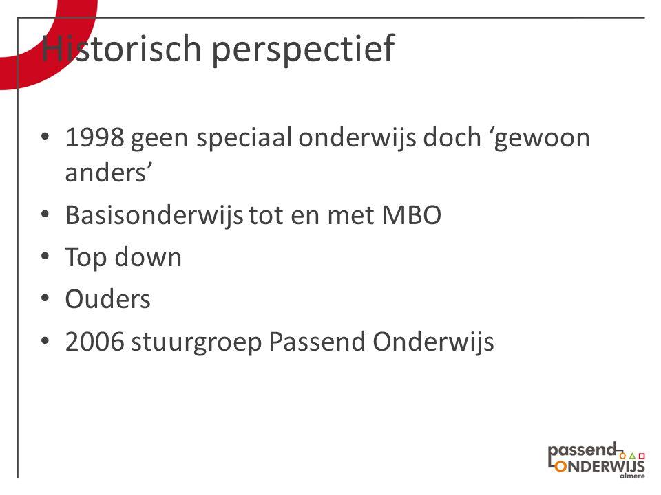 Historisch perspectief 1998 geen speciaal onderwijs doch 'gewoon anders' Basisonderwijs tot en met MBO Top down Ouders 2006 stuurgroep Passend Onderwijs