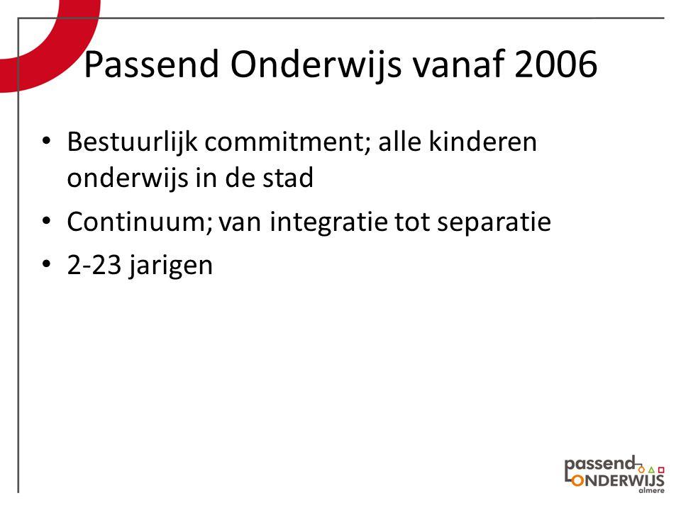 Passend Onderwijs vanaf 2006 Bestuurlijk commitment; alle kinderen onderwijs in de stad Continuum; van integratie tot separatie 2-23 jarigen