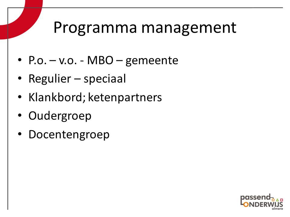 Programma management P.o. – v.o.