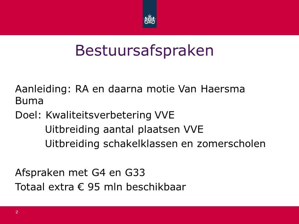 2 Bestuursafspraken Aanleiding: RA en daarna motie Van Haersma Buma Doel: Kwaliteitsverbetering VVE Uitbreiding aantal plaatsen VVE Uitbreiding schake