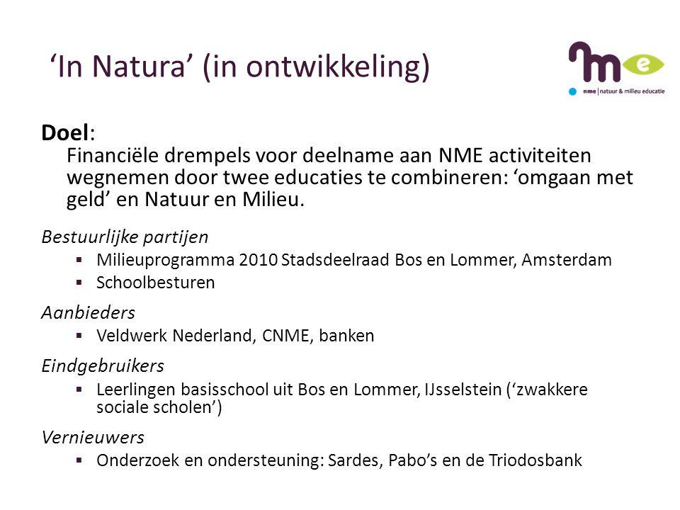 'In Natura' (in ontwikkeling) Doel: Financiële drempels voor deelname aan NME activiteiten wegnemen door twee educaties te combineren: 'omgaan met geld' en Natuur en Milieu.