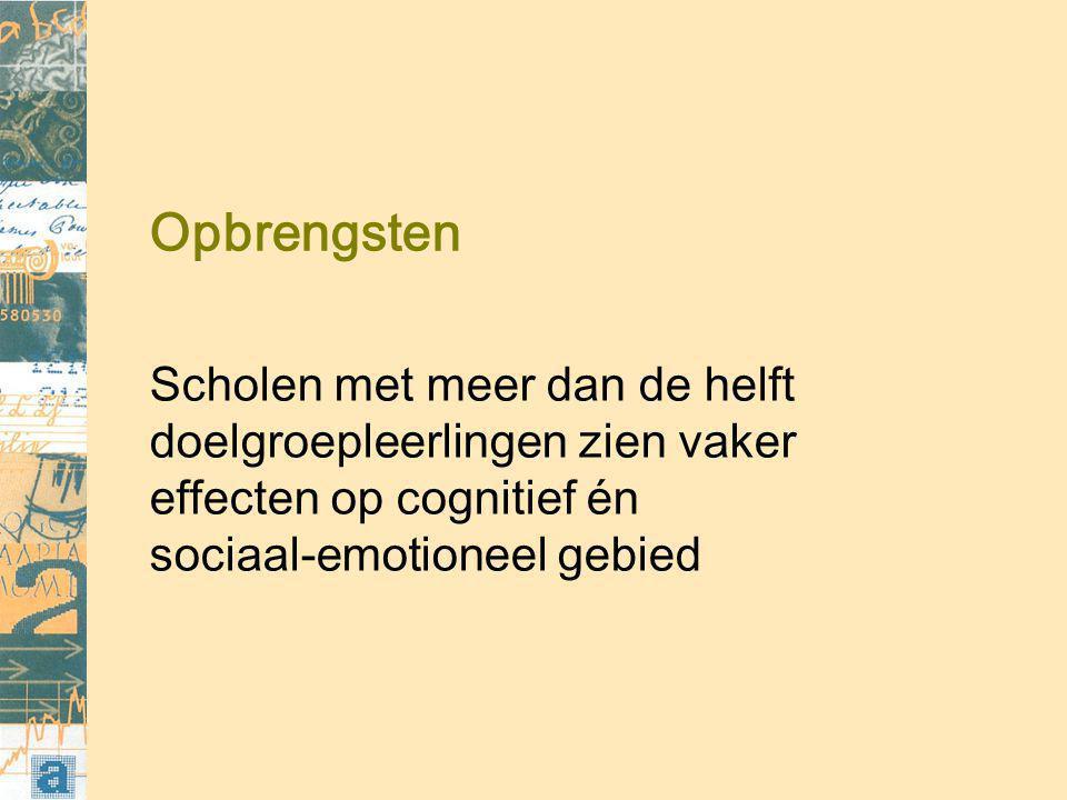 Opbrengsten Scholen met meer dan de helft doelgroepleerlingen zien vaker effecten op cognitief én sociaal-emotioneel gebied