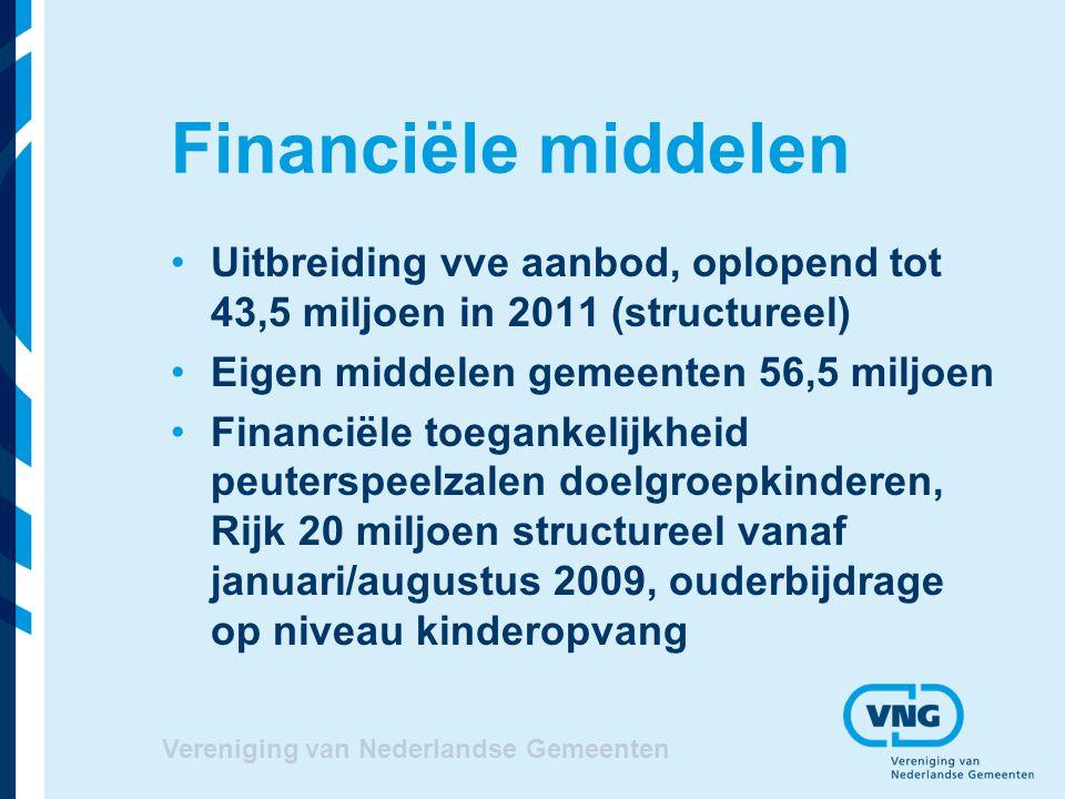 Vereniging van Nederlandse Gemeenten Financiële middelen Uitbreiding vve aanbod, oplopend tot 43,5 miljoen in 2011 (structureel) Eigen middelen gemeen