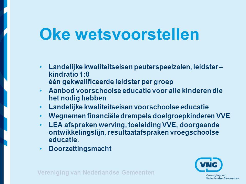 Vereniging van Nederlandse Gemeenten Oke wetsvoorstellen Landelijke kwaliteitseisen peuterspeelzalen, leidster – kindratio 1:8 één gekwalificeerde lei