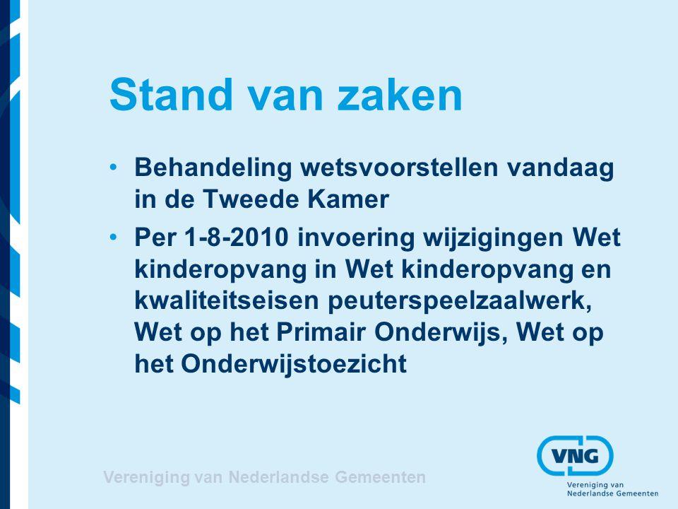 Vereniging van Nederlandse Gemeenten Stand van zaken Behandeling wetsvoorstellen vandaag in de Tweede Kamer Per 1-8-2010 invoering wijzigingen Wet kin