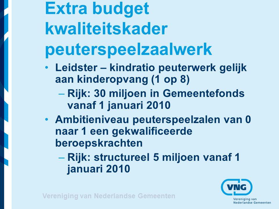 Vereniging van Nederlandse Gemeenten Extra budget kwaliteitskader peuterspeelzaalwerk Leidster – kindratio peuterwerk gelijk aan kinderopvang (1 op 8)