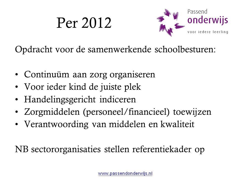 Per 2012 Opdracht voor de samenwerkende schoolbesturen: Continuüm aan zorg organiseren Voor ieder kind de juiste plek Handelingsgericht indiceren Zorg