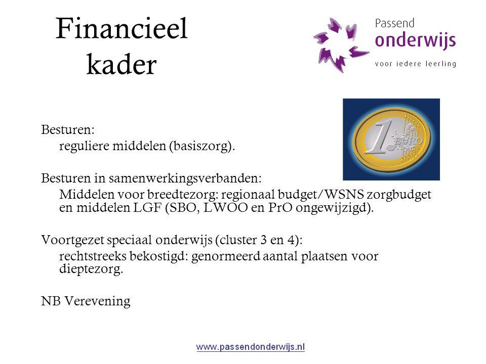 Financieel kader Besturen: reguliere middelen (basiszorg). Besturen in samenwerkingsverbanden: Middelen voor breedtezorg: regionaal budget/WSNS zorgbu