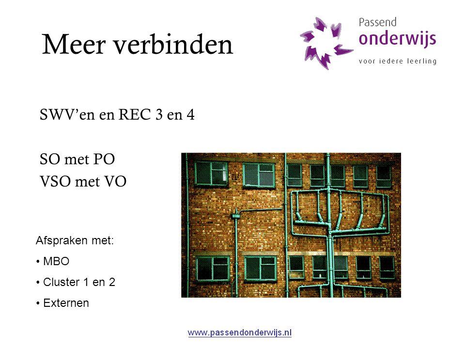 Meer verbinden SWV'en en REC 3 en 4 SO met PO VSO met VO Afspraken met: MBO Cluster 1 en 2 Externen