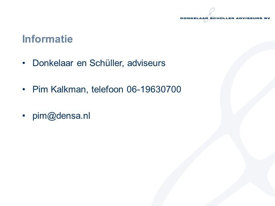 Informatie Donkelaar en Schüller, adviseurs Pim Kalkman, telefoon 06-19630700 pim@densa.nl
