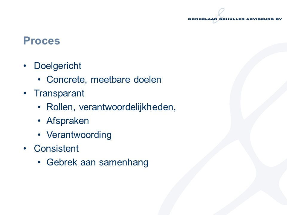 Proces Doelgericht Concrete, meetbare doelen Transparant Rollen, verantwoordelijkheden, Afspraken Verantwoording Consistent Gebrek aan samenhang