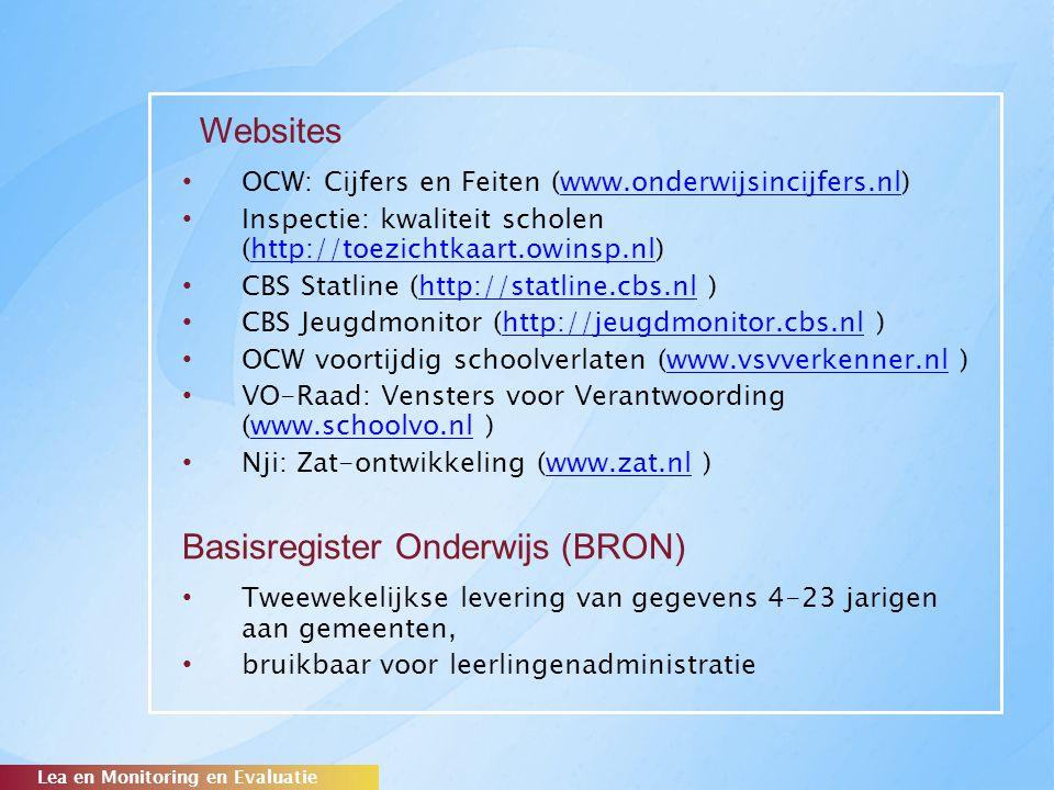 Basisregister Onderwijs (BRON) OCW: Cijfers en Feiten (www.onderwijsincijfers.nl)www.onderwijsincijfers.nl Inspectie: kwaliteit scholen (http://toezic