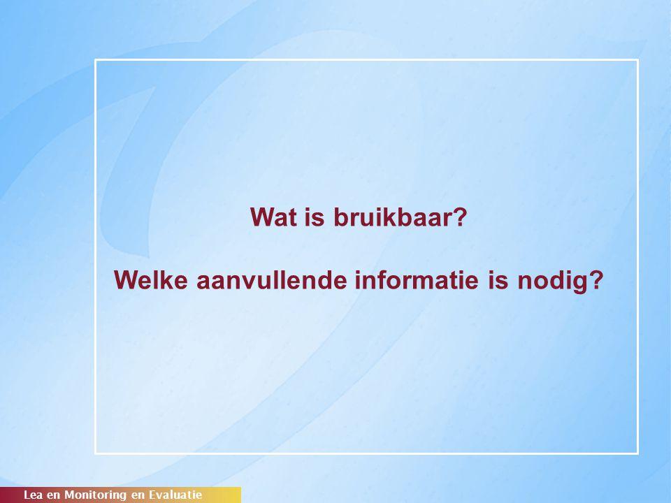Wat is bruikbaar? Welke aanvullende informatie is nodig? Lea en Monitoring en Evaluatie