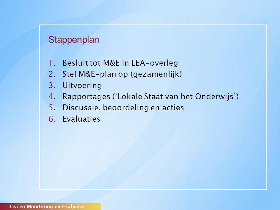 Stappenplan 1.Besluit tot M&E in LEA-overleg 2.Stel M&E-plan op (gezamenlijk) 3.Uitvoering 4.Rapportages ('Lokale Staat van het Onderwijs') 5.Discussi