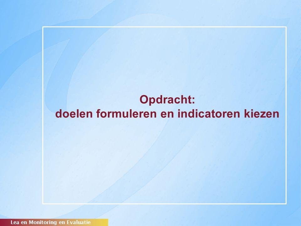 Opdracht: doelen formuleren en indicatoren kiezen Lea en Monitoring en Evaluatie