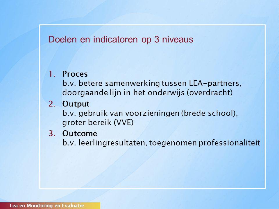 Doelen en indicatoren op 3 niveaus 1.Proces b.v. betere samenwerking tussen LEA-partners, doorgaande lijn in het onderwijs (overdracht) 2.Output b.v.