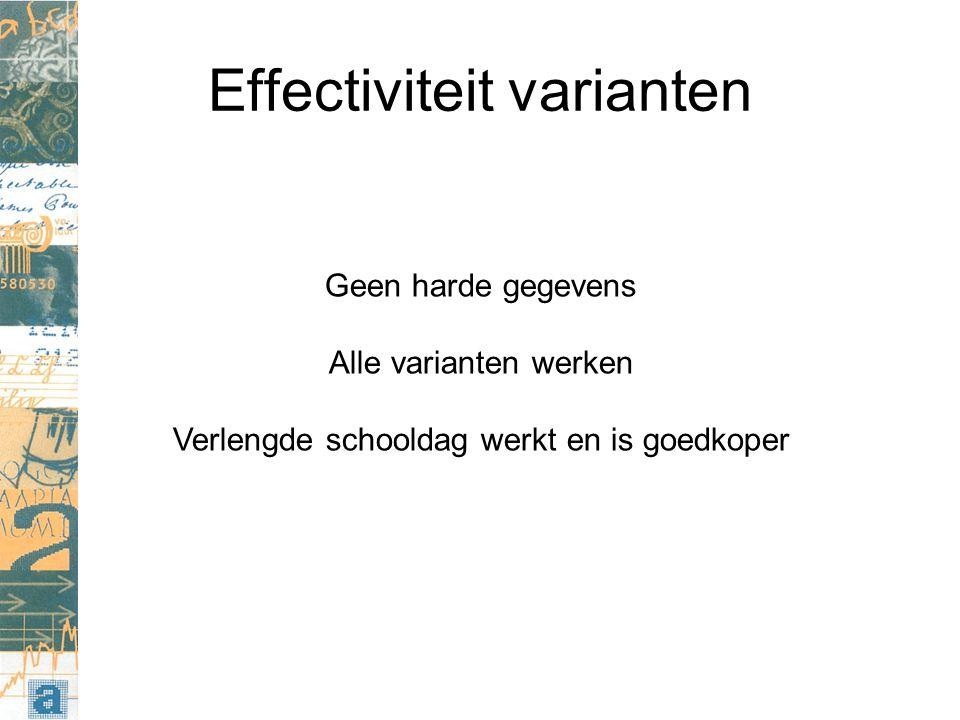 Effectiviteit varianten Geen harde gegevens Alle varianten werken Verlengde schooldag werkt en is goedkoper