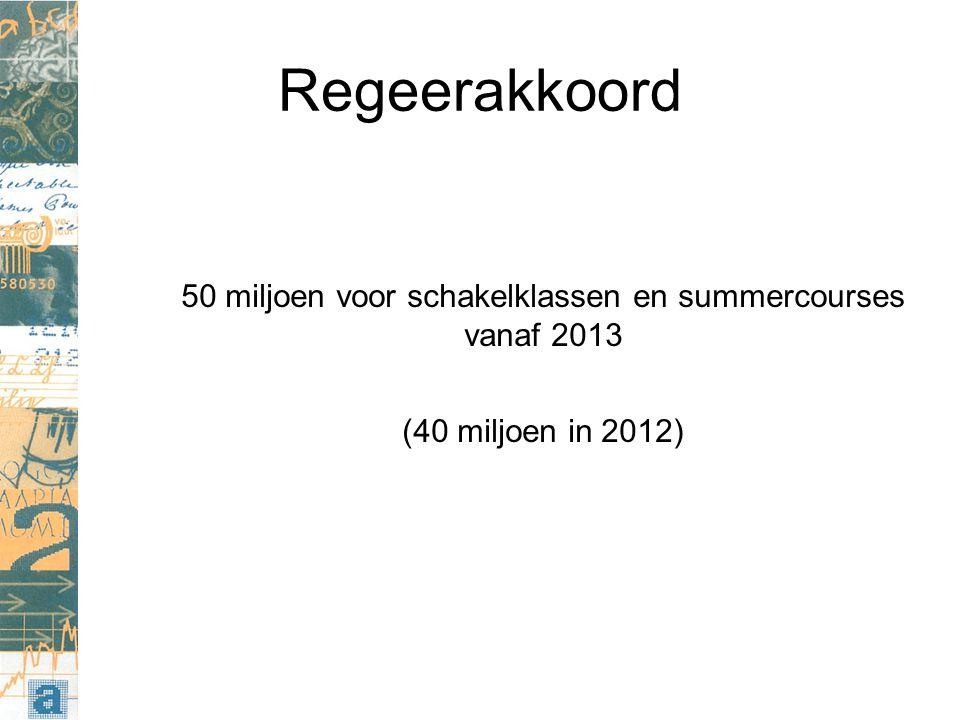 Regeerakkoord 50 miljoen voor schakelklassen en summercourses vanaf 2013 (40 miljoen in 2012)
