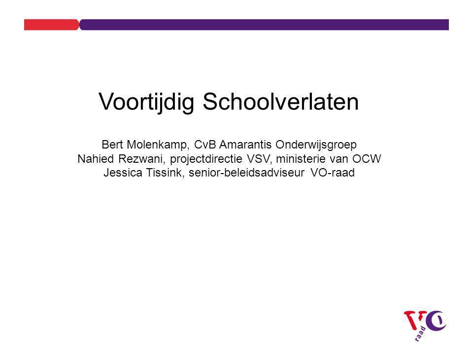 Voortijdig Schoolverlaten Bert Molenkamp, CvB Amarantis Onderwijsgroep Nahied Rezwani, projectdirectie VSV, ministerie van OCW Jessica Tissink, senior