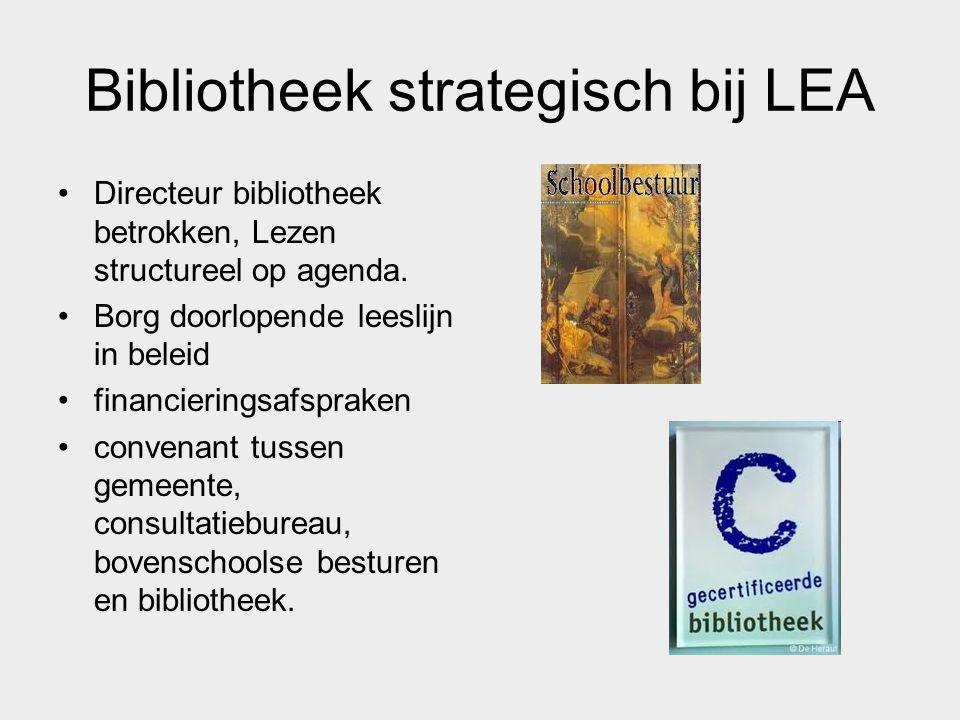 Bibliotheek strategisch bij LEA Directeur bibliotheek betrokken, Lezen structureel op agenda. Borg doorlopende leeslijn in beleid financieringsafsprak