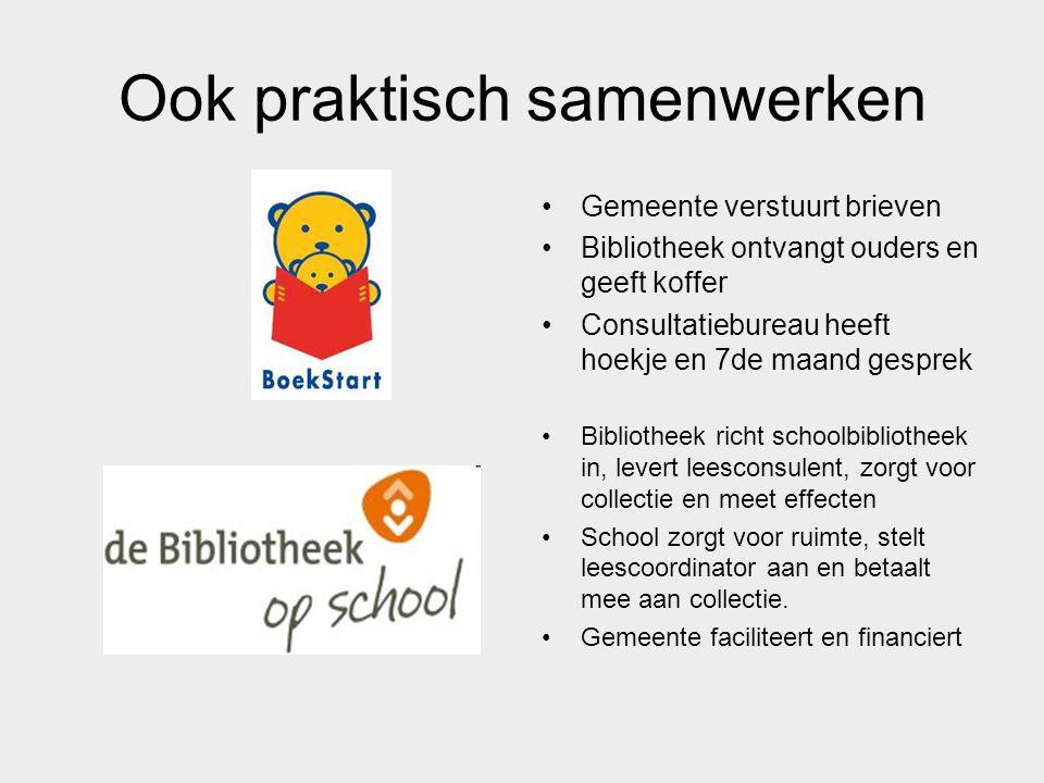 Ook praktisch samenwerken Gemeente verstuurt brieven Bibliotheek ontvangt ouders en geeft koffer Consultatiebureau heeft hoekje en 7de maand gesprek B