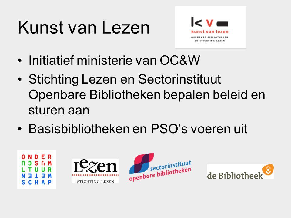 Kunst van Lezen Initiatief ministerie van OC&W Stichting Lezen en Sectorinstituut Openbare Bibliotheken bepalen beleid en sturen aan Basisbibliotheken