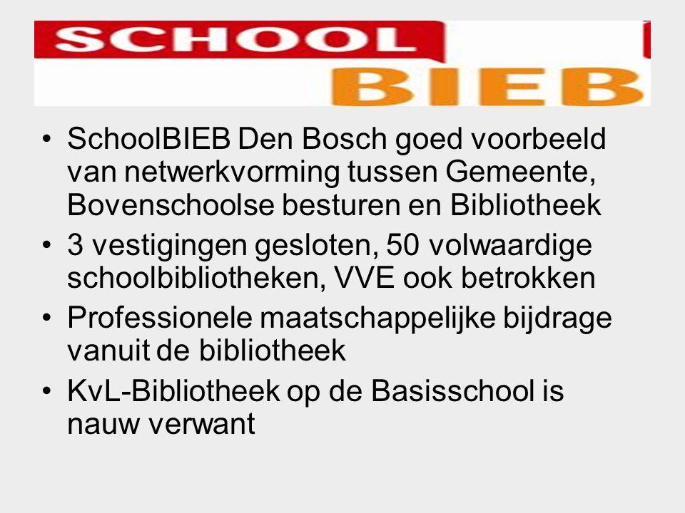 SchoolBIEB Den Bosch goed voorbeeld van netwerkvorming tussen Gemeente, Bovenschoolse besturen en Bibliotheek 3 vestigingen gesloten, 50 volwaardige s