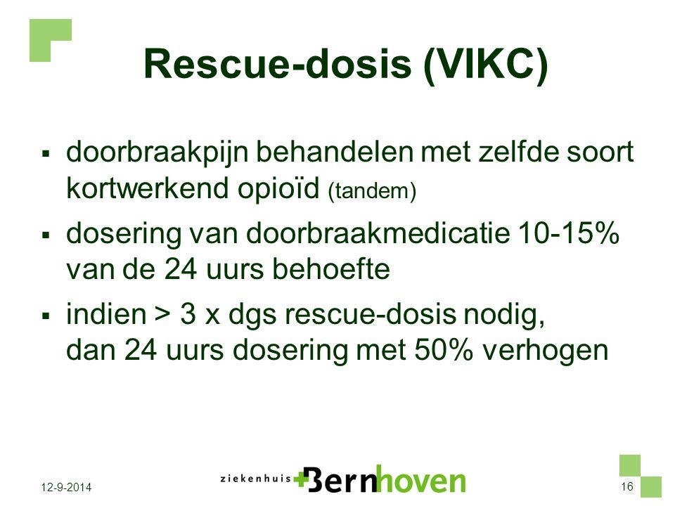 16 12-9-2014 Rescue-dosis (VIKC)  doorbraakpijn behandelen met zelfde soort kortwerkend opioïd (tandem)  dosering van doorbraakmedicatie 10-15% van