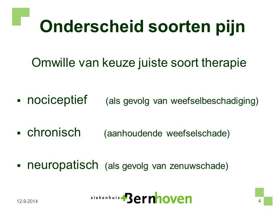 4 12-9-2014 Onderscheid soorten pijn Omwille van keuze juiste soort therapie  nociceptief (als gevolg van weefselbeschadiging)  chronisch (aanhouden