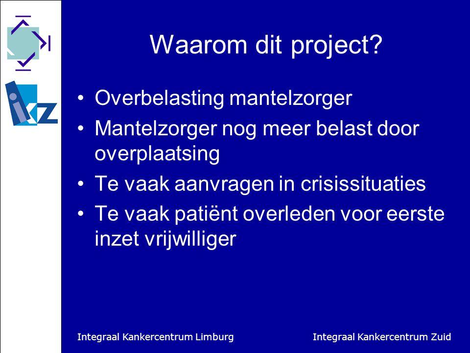 Integraal Kankercentrum Limburg Integraal Kankercentrum Zuid Pilotgebieden IKZ Zuidoost Brabant (De Kempen en Veldhoven) West-Brabant (netwerk palliateve zorg Etten-Leur/Zundert)
