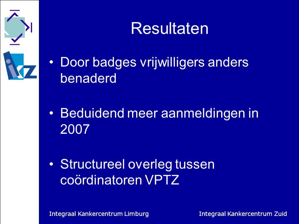 Integraal Kankercentrum Limburg Integraal Kankercentrum Zuid Resultaten Door badges vrijwilligers anders benaderd Beduidend meer aanmeldingen in 2007 Structureel overleg tussen coördinatoren VPTZ