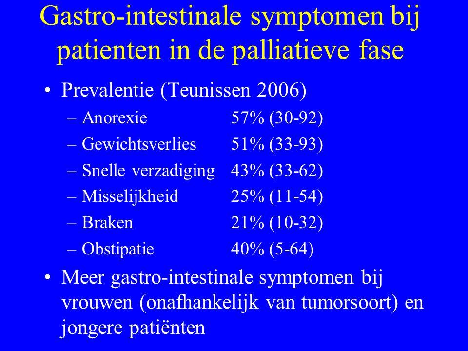 Medicamenteuze behandeling (4) 1.Monotherapie (70%): Bij gastroparese/abdominale oorzaken: 1e keuze: metoclopramide; alternatieven: domperidon, haloperidol.