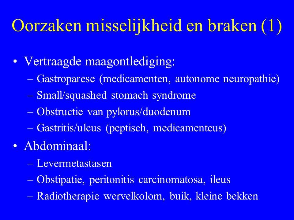 Oorzaken misselijkheid en braken (2) Chemisch/metabool –Medicamenten (opioïden, chemotherapie, andere middelen) –Hypercalciëmie –Nierinsufficiëntie Cerebraal –Hersenmetastasen –Meningitis (carcinomatosa, infectieus, chemisch) –Psychogene factoren Vestibulair (medicamenteus, tumor, aandoening labyrinth)