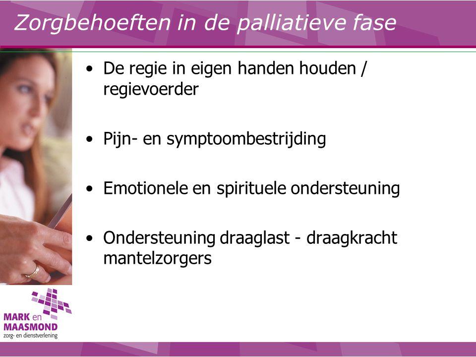 Zorgbehoeften in de palliatieve fase De regie in eigen handen houden / regievoerder Pijn- en symptoombestrijding Emotionele en spirituele ondersteunin
