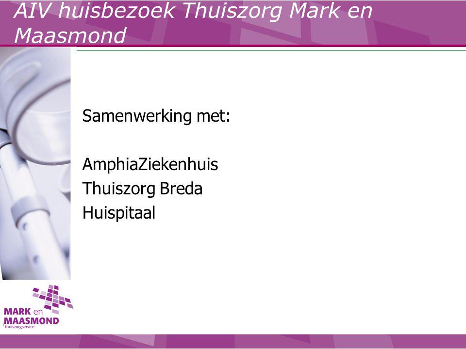 Samenwerking met: AmphiaZiekenhuis Thuiszorg Breda Huispitaal AIV huisbezoek Thuiszorg Mark en Maasmond