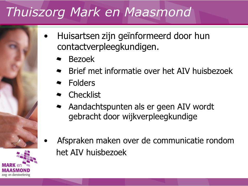 Huisartsen zijn geïnformeerd door hun contactverpleegkundigen. Bezoek Brief met informatie over het AIV huisbezoek Folders Checklist Aandachtspunten a