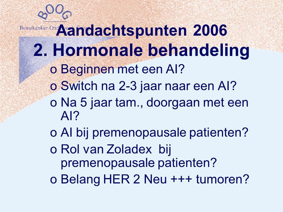 Aandachtspunten 2006 2. Hormonale behandeling oBeginnen met een AI.