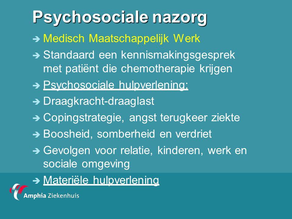 Psychosociale nazorg  Medisch Maatschappelijk Werk  In oncologie gespecialiseerde MW zijn onderdeel van behandelteam  Een aantal verwerkingsproblemen komen vaak na de behandeling naar boven  Pilot in Amphia: detectie noodzaak psychosociale zorg d.m.v.