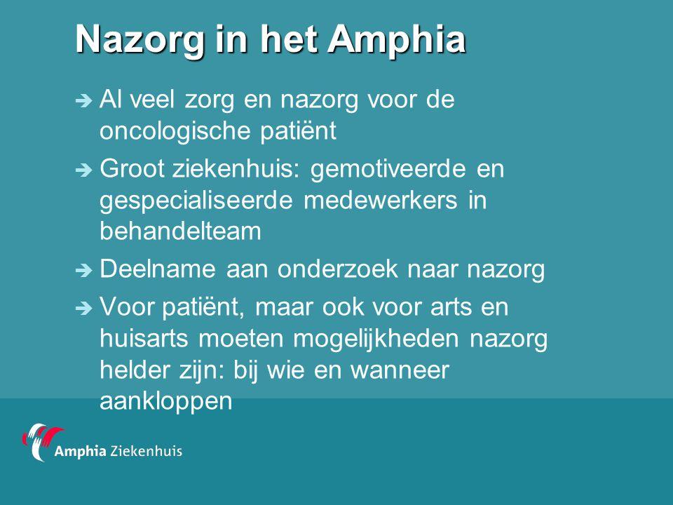 Nazorg in het Amphia  Al veel zorg en nazorg voor de oncologische patiënt  Groot ziekenhuis: gemotiveerde en gespecialiseerde medewerkers in behande