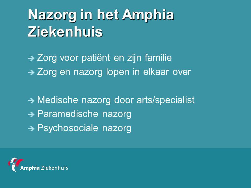 Nazorg in het Amphia Ziekenhuis  Zorg voor patiënt en zijn familie  Zorg en nazorg lopen in elkaar over  Medische nazorg door arts/specialist  Par