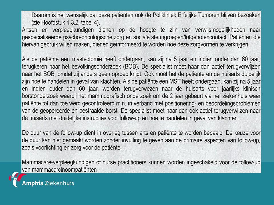 Paramedische nazorg  Oncologisch verpleegkundige  MDL-stomaverpleegkundige  Mammacare-verpleegkundige  Diëtiste