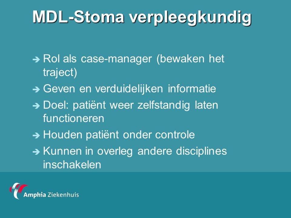 MDL-Stoma verpleegkundig  Rol als case-manager (bewaken het traject)  Geven en verduidelijken informatie  Doel: patiënt weer zelfstandig laten func